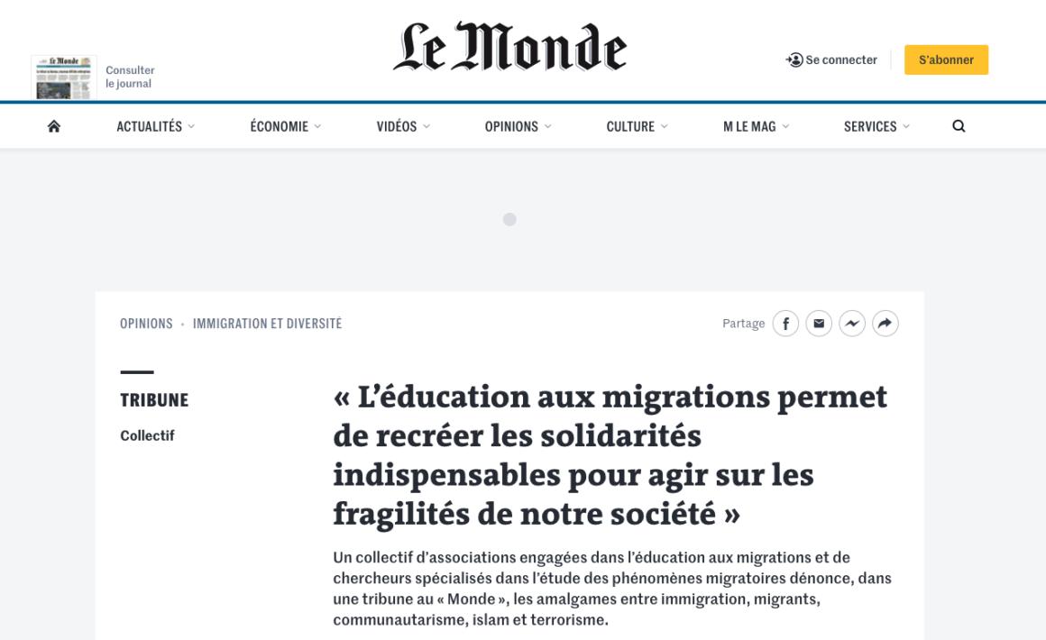 Tribune parue dans le journal Le Monde : Et si nos préjugés étaient le véritable ennemi ?