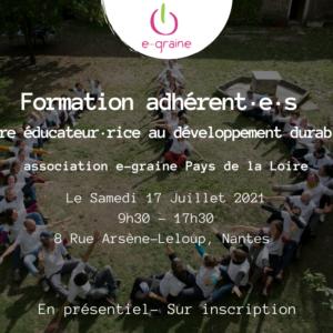 Formation adhérent·e·s le 17 Juillet : «Être éducateur·rice au développement durable»